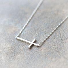 Sideways Cross Necklace in silver by laonato on Etsy, $15.00