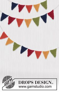 """Knitted DROPS garland with pennants in """"Alpaca"""" ~ freebie: thanks so xox"""