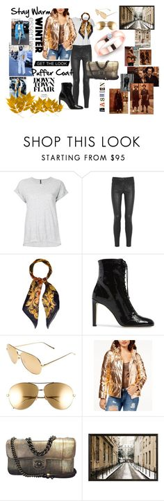 """""""Stay Warm"""" by ascheron-jewels ❤ liked on Polyvore featuring Nobody Denim, J Brand, Chanel, Jimmy Choo, Linda Farrow, GUESS and Pottery Barn"""