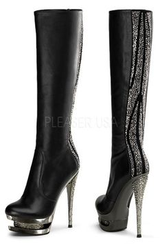 6 inch Stiletto Heel, 1 1/2 inch Dual Platform Knee Boot. Knee Boot w/ Rhinestones Embellished on Back of Shaft, Inlay & Heel, Side Zip. PLEASE NOTE: Due to the popularity of this item it may take an additional 4 day for processing of this item. 2 Day shipping will not expedite this only the shipping time. For more information please see our Store Policy.   Store Policy