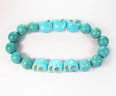 Beautiful Turquoise Light Blue Cyan Skull Blue Ball Beads Stretch Bracelet 173