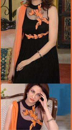 Buy black chiffon salwar kameez worn by saumya tandon aka anita in bhabhi ji ghar par hai! High neck collar kameez has floral embroidered patch on the yoke part. Simple Kurti Designs, Stylish Dress Designs, Kurti Neck Designs, Fancy Blouse Designs, Kurta Designs Women, Dress Neck Designs, Kurti Designs Party Wear, Designs For Dresses, Stylish Dresses