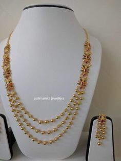 Gold Jewellery Design, Gold Jewelry, Beaded Jewelry, Jewelery, Gold Necklace, Mango Necklace, Layer Necklace, Designer Jewellery, Designer Earrings