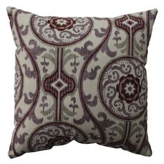 Add the perfect blend of style and comfort to any space with this 16.5-inch purple and cranberry suzani damask throw pillow from Pillow Perfect. Sophisticated knife edges and a lovely cotton cover complete the design of this decorative pillow.