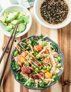 Restaurant Dishes, Seafood Restaurant, Asian Recipes, Healthy Recipes, Ethnic Recipes, Salmon Recipes, Quinoa, Poke Recipe, Poke Sauce Recipes