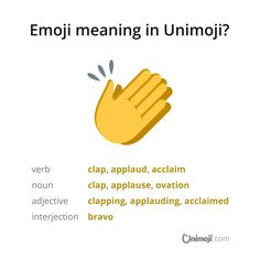"""👏 The """"clapping hands"""" emoji is useful to denote applause, ovation, approbation or appreciation on something. 👏 The """"clapping hands"""" emoji is useful to denote applause, ovation, approbation or appreciation on something. Hand Emoji Meanings, Clapping Hands Emoji, Emoji Language, App L, Appreciation, Meant To Be, Symbols, Graphics, Instagram"""