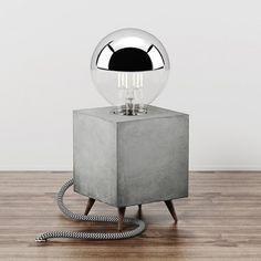 Betonlampe LOOMACUBE C1 – Walnuss #LampDys #ConcreteLamp