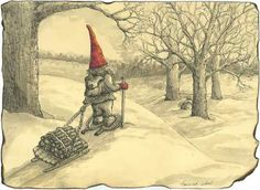 Snowshoeing Gnome by Three Sister's Studio