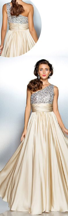 Sheath / Column One Shoulder Floor Length Satin Chiffon Prom Dress with Draping