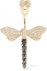 White diamonds, blackened diamonds: Butterfly fastening for pierced ears The black color of these diamonds is the result of an artificial treatment process NET-A-PORTER. Gold Diamond Earrings, Carat Gold, Things To Think About, 18th, Delicate, Bling, Jewels, Accessories, Jewel