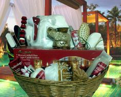 Zotorius Creations Gift Baskets, LLC ~ Like us on Facebook!  Large wicker basket w/handles enclosed with the following items: 1.  Two (2) premium red bath towels; 2.  Hand held battery operated body massager with six (6) attachnents by Wahl; 3.  Bodyworks by Bodycology (4) exotic cherry blossom scented (moisturizing body cream, body lotion, foaming body wash & liquid hand soap) 4.  Long wooden handle back rub massager 5.  Pedicure 4 in 1 tool (cleansing brush, scraper, pumice stone & file)…