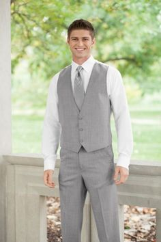 Modern Elegance from Jim's Formal Wear. Create a contemporary 3 piece tuxedo look with an elegant matching vest. Available in Black, Tan, Heather Grey and Steel Grey. Men's and Boy's sizes available. Beach Wedding Groom Attire, Casual Groom Attire, Wedding Vest, Casual Grooms, Tuxedo Wedding, Wedding Suits, Wedding Tuxedos, Groom Outfit, Wedding 2017