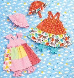 Kwik Sew Baby Dress, Panties, and Hat Sewing Pattern Sizes Months Sewing Patterns Girls, Hat Patterns To Sew, Dress Making Patterns, Mccalls Sewing Patterns, Sewing For Kids, Baby Sewing, Vintage Patterns, Sew Baby, Kids Patterns