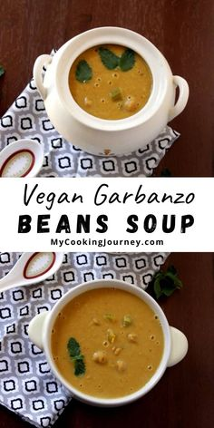 A delicious and quick to make chick peas soup with Middle Eastern flavors. The best part is this chick peas soup is made with canned garbanzo beans. Miso Soup, Lentil Soup, Diet Recipes, Vegan Recipes, Soup Appetizers, Good Food, Yummy Food, Pea Soup, Dried Beans