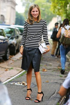 Casual Work Striped Sweater Black Leather Skirt Black Heels