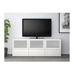 BESTÅ TV bench with doors and drawers - white/Selsviken high-gloss/white frosted glass, drawer runner, soft-closing - IKEA