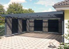 Gabionen-Doppelcarport mit geschlossener Rückwand, die Hausseite wird nur mit Stützpfosten ausgeführt