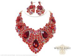 Red Bridal Jewelry Set, Crystal Statement Necklace Earrings, Vintage Inspired Rhinestone Necklace, Wedding Jewelry