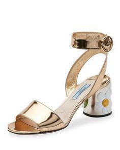 Prada Floral-Heel Ankle-Wrap 65mm Sandal, Platino