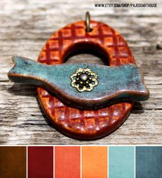 Three Tone Rustic Sunshine Water and Sage Ceramic Clasp by PajegoArtHouse Two Tone Rustic Earth and Water Ceramic Clasp by PajegoArt...