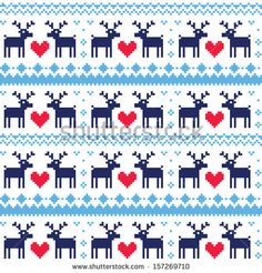 Nordic seamless pattern with deer and hearts by RedKoala #print #chirstmas