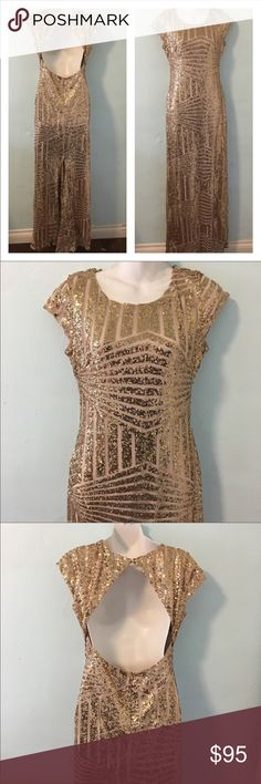 """Gold Long Dress Size L Gold Long Dress Size L. Wore once for a wedding, bought it at Los Angeles Fashion District. I'm 5'8"""" and I wore 4"""" heels that day.. Feel free to ask any questions :) Dresses Wedding"""