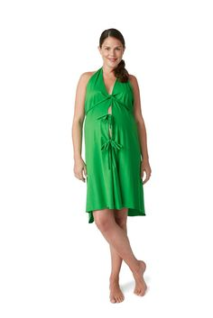 Pretty Pushers Cotton Jersey Labor Gown in Clover Green
