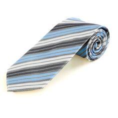 Superbaby Men Classic Blue White Black Triple Stripes Necktie 1025  http://www.yourneckties.com/superbaby-men-classic-blue-white-black-triple-stripes-necktie-1025/