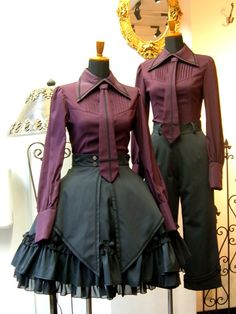 Fionn and Alma's uniforms Old Fashion Dresses, Fashion Outfits, Mode Lolita, Lolita Fashion, Gothic Punk Fashion, Cosplay Dress, Couple Outfits, Kawaii Clothes, Anime Outfits