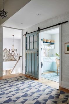 Vintage Ideas Get the Look: Blue Modern Farmhouse Laundry Room - Sarah Richardson's new off-the-grid house in Ontario has so many pretty details, and as promised, I'm sharing sources and a resource guide for her beautiful… Blue Laundry Rooms, Laundry Room Doors, Farmhouse Laundry Room, Laundry Room Design, Small Laundry, Laundry Craft Rooms, Closet Doors, Laundry Cabinets, Mud Rooms