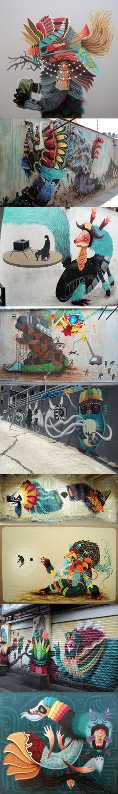 Les oeuvres murales de El Curiot (Mexique) absolument magnifique. Cela faisait un petit bout de temps que je n'avais pas eu un coup de foudre pour un travail aussi frais et coloré. A ne pas rater.