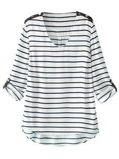 White Stripe V-neck Loose T-shirt | Choies