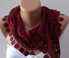 Burgundy Elegance Shawl / Scarf with Lace Edge by SwedishShop, $14.90