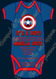 Superhero Captain America Baby Shower It's a Boy Party Invitations U-Print Custom on Etsy, $10.20