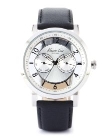 Men's Translucent Dress Watch - Sophistication meets high design in this modern time piece which features a see-through face with modern numerals, dual incremental dials for the day/date of the week, a large stem crown and a smooth genuine leather band.