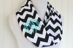 Black Chevron Monogrammed Scarf  Personalized by Prettyloulou, $23.95
