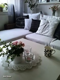 B&W Couch, Throw Pillows, Living Room, Black And White, Bed, Furniture, Home Decor, Settee, Cushions