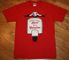 Feel The Love, It's Genuine red Scooter T-Shirt tee Men's Small (preowned?) prep #FruitoftheLoom #GraphicTee