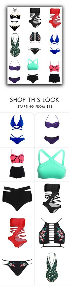 """""""9 hot bikini"""" by queenmadhatteres ❤ liked on Polyvore featuring WithChic, L*Space, Cactus, Agent Provocateur, River Island and ADRIANA DEGREAS"""