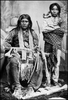 Portrait of Ignacio and his son, (Mescalero Apaches). Photograph taken c. 1880.