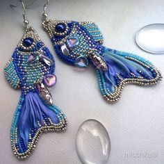 Bead Embroidered Earrings Little Fish by beadedmischka on Etsy