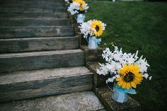 Jug Flowers Aisle Indie Secret Seaside Wedding http://www.chrisbarberphotography.co.uk/