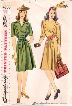 JUNIOR MISSES' DRESS. The dress is fashioned with a smart front panel finished with buttons and buttonholes. The skirt is styled with soft front fullness and buttoned pockets. Style I has a trim convertible collar, short sleeves and a self-belt. The high round neck, belt and outer edges of the waist and skirt front of Style II are bound in a contrasting fabric.    OMG those hats!