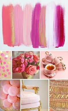 nice collage!!   pink & gold | home decor