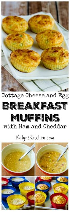 "Cottage Cheese and Egg Breakfast Muffins with Ham and Cheddar are perfect to make on the weekend and reheat during the week for a quick breakfast. These ""muffins"" have a tiny bit of flour, but they're still a pretty low-carb breakfast choice. [found on KalynsKitchen.com]"