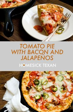 Tomato pie with bacon and jalapeños Fresh Tomato Recipes, Spicy Recipes, Mexican Food Recipes, Cooking Recipes, Skillet Recipes, Soul Food Kitchen, Southern Tomato Pie, Homesick Texan, Stuffed Jalapenos With Bacon