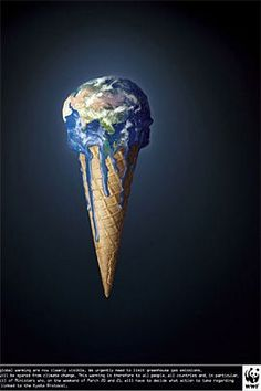 This Constrained visual language shows that the earth is melting like an ice cream, which refers the globle warming. It is for appealling people to protect the earth, focus on the serious environmental problem.
