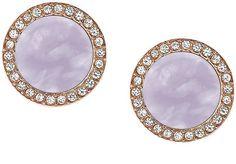 Michael Kors MKJ5189791 Disc Purple MOP Rose Gold Crystals Post Stud Earrings #MichaelKors #Stud