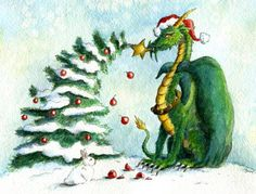 Christmas-Dragon-Reach for the Stars! by Heidi Buck Dragon Hatchling Egg Baby Babies Cute Funny Humor Fantasy Myth Mythical Mystical Legend Dragons Wings Sword Sorcery Magic Art Fairy Maiden Whimsy Whimsical Drache drago dragon Дракон  drak dragão