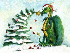 Christmas-Dragon-Reach for the Stars! by Heidi Buck Dragon Hatchling Egg Baby Babies Cute Funny Humor Fantasy Myth Mythical Mystical Legend Dragons Wings Sword Sorcery Magic Art Fairy Maiden Whimsy Whimsical Drache drago dragon Дракон  drak dragão
